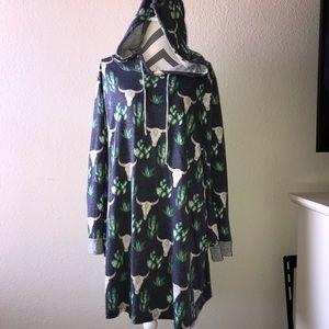Tops - Cactus and Cow Skull Print Hoodie Dress.